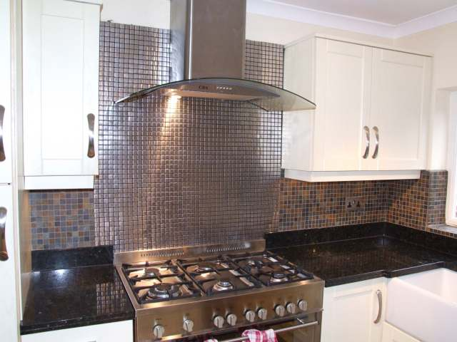 stainless steel mosaics with slate mosaics
