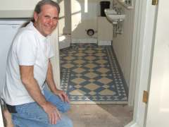 me with Victorian geometric floor tile
